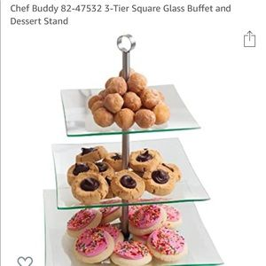 Chef Buddy Tier Square Pastry Dessert Stand Glass
